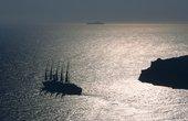 Silhouette of a cruise ship in the sea, Dubrovnik, Croatia