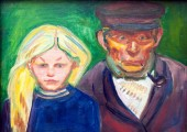 Old Fisherman with Daughter by Edvard Munch at Stadel art museum or Stadelsches Kunstinstitut in Fra