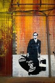 Stencil art from Banksy's Cans Festival