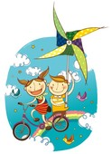 Children flying in sky on bicycle