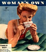 WomanÕs Own 1953 1950s UK drinking tea relaxing
