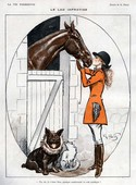 La Vie Parisienne  1919 1920s France Georges Pavis  illustrations kissing horses women woman dogs  dog  kisses