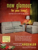 Kroehler 1950s USA itnt sofas interiors fabrics living sitting rooms chairs  settees